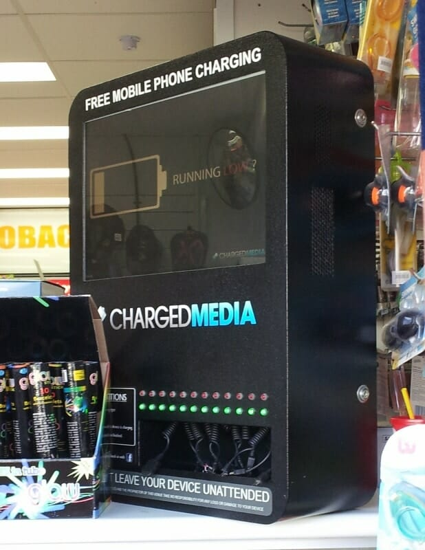 chargedmedia digital signage kiosk mobile phone