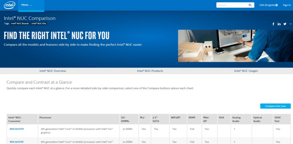 Intel NUC Comparison