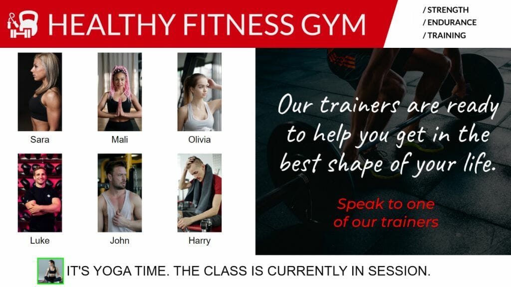 Digital Signage Blog - Staff Roster gyms personal training centres